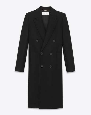 Double-Breasted Cord Waist-Tie Corduroy Trench Coat, Black