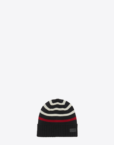 SAINT LAURENT MARIN KNIT HAT IN BLACK AND WHITE KNIT WOOL 827a2b1e2e41