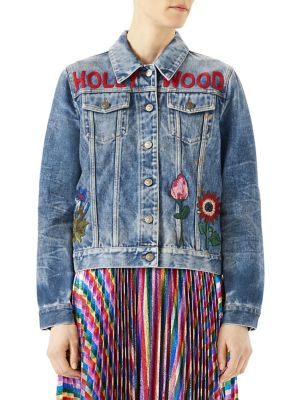 Embroidered Stained Denim Jacket, Blue, Blue Multi