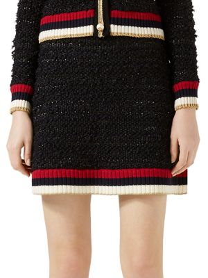 Ribbed Knit-Trimmed Bouclé-Tweed Mini Skirt, Black Gold