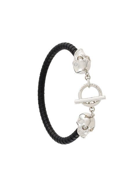 ALEXANDER MCQUEEN Black T-Bar Skull Bracelet, 1000 - Black