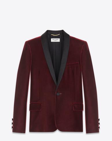 Iconic Le Smoking Single-Breasted Jacket In Burgundy Velvet, Bordeaux