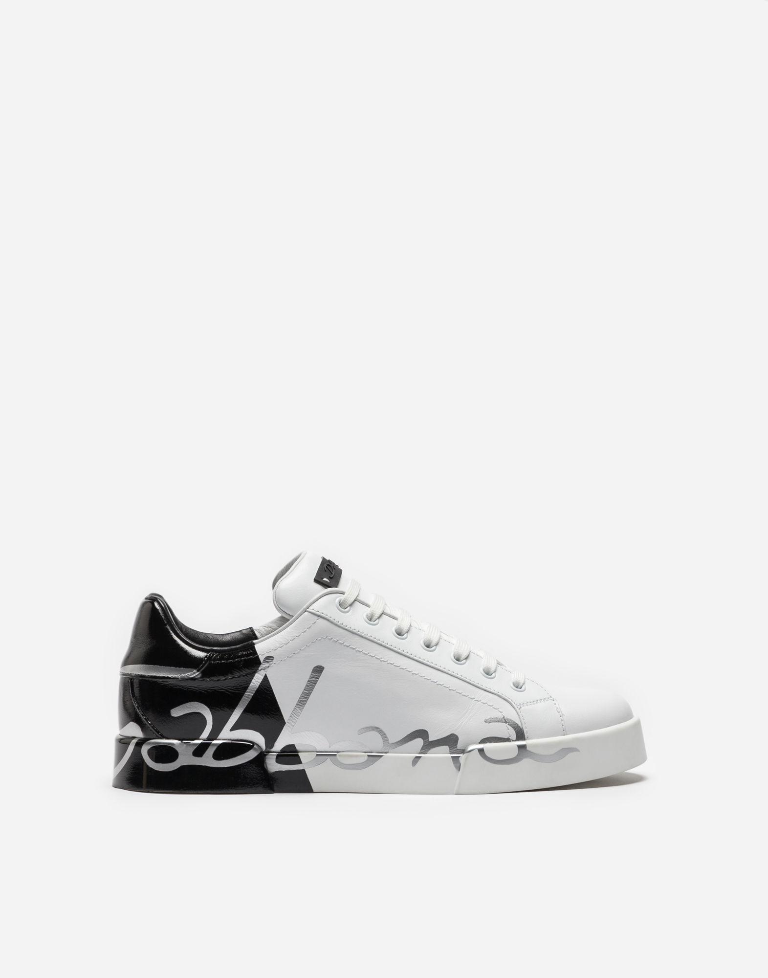Portofino Sneakers In Leather And Patent, White/Black