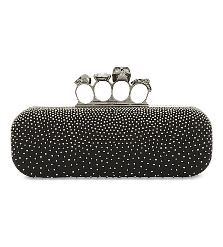 Studded Lambskin Leather Knuckle Clutch - Black, Black Silver