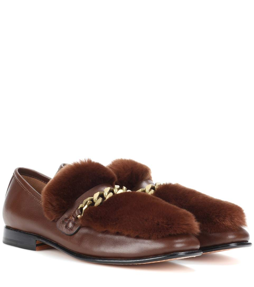 Burgundy Loafur Leather And Fur Loafers, Cogeac