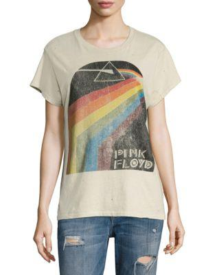 MADEWORN Pink Floyd Distressed Printed Cotton-Jersey T-Shirt in Ecru