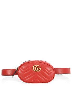 Red Gg Marmont Matelass Leather Belt Bag, Hibiscus Red Chevron Leather