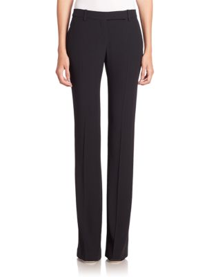 Flat-Front Boot-Cut Leaf Crepe Pants in Black