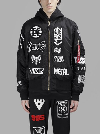 KTZ All-Over Patch Bomber Jacket in Black