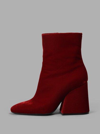 Maison Margela Women'S Red Tabi Velvet Boots