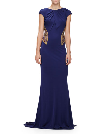 BADGLEY MISCHKA Cap-Sleeve Embellished Gown, Sapphire, Navy Gold