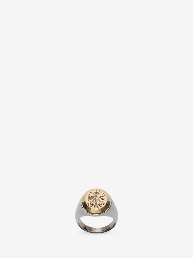 ALEXANDER MCQUEEN Gold And Silver Metallic Signet Ring, Antique Gold