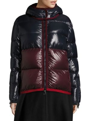 35066db94ae MONCLER Cotinus Colorblocked Shiny Quilted Down Coat