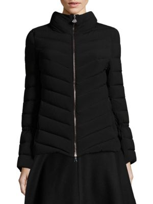 Solanum Funnel-Neck Quilted-Down Jacket, Black