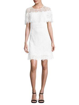 Vivi Short-Sleeve Popover Lace Cocktail Dress, White