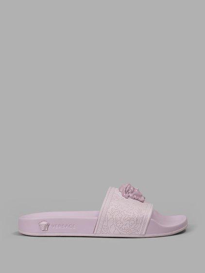 versace women s pink rubber slides in light pink modesens