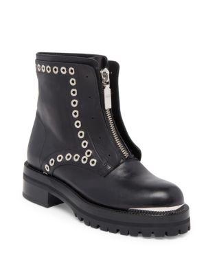 Stud Flat Embellished Leather Ankle Boots, Black