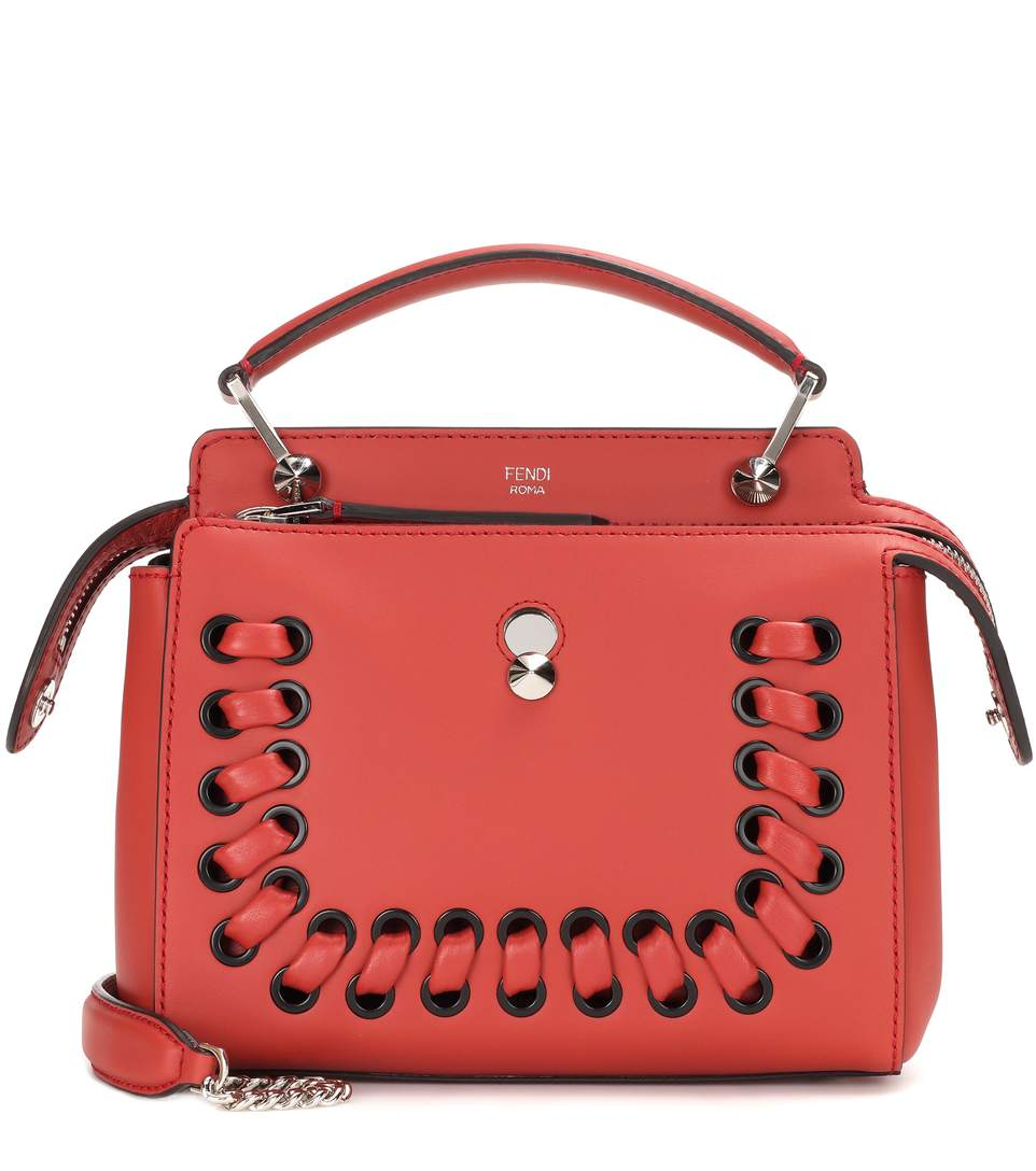 Dotcom Click Lace-Up Leather Satchel - Red