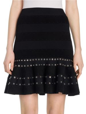 Eyelet Embellished Stripe Velour Fluted Skirt in Black