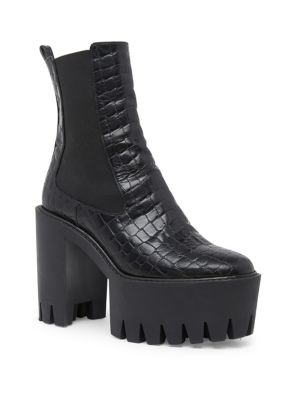 Monster Crocodile-Effect Faux-Leather Ankle Boots, Black