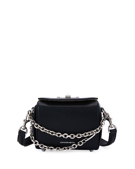 Box Bag 16 Textured-Leather Shoulder Bag in Black