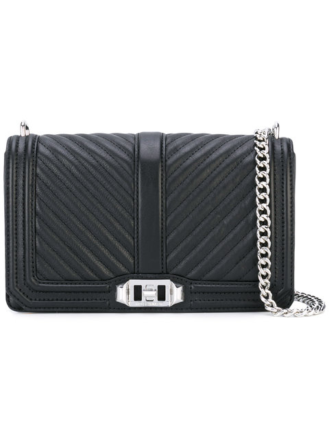 Black Chevron Quilted Leather Slim Love Crossbody Bag