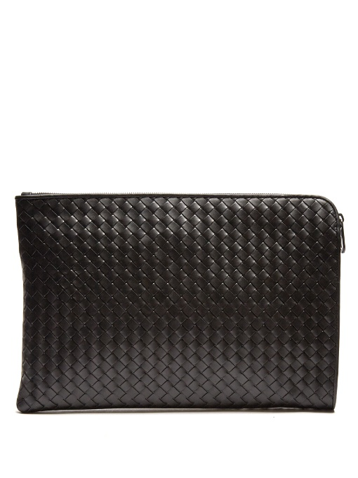 BOTTEGA VENETA Intrecciato Leather Document Holder in Black