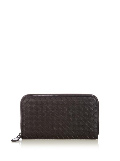 Intrecciato Zip-Around Leather Wallet, Black
