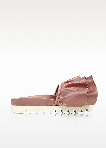 JOSHUA SANDERS Rose Satin Rouches Slide Sandals