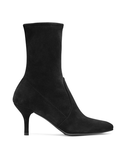 Cling Suede Stretch Sock Booties in Black from STUART WEITZMAN
