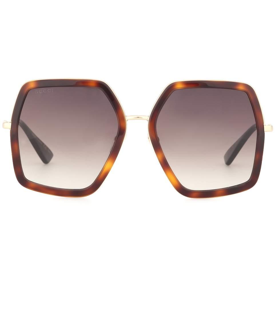 5a37aa3c9a4 ... Lyst Gucci Oversized Square Frame Horsebit Sunglasses In Black classic  fit 7de9b 56f83 ...