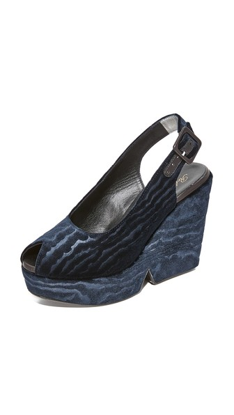 ROBERT CLERGERIE Dylan Midnight Blue Velvet Wedge Sandals in Black