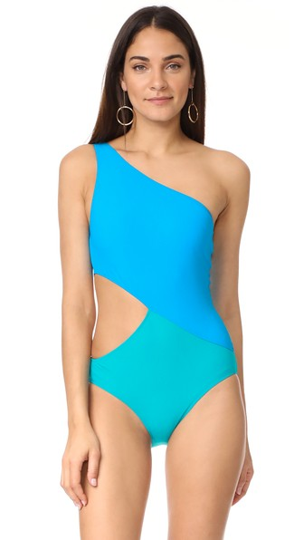 ARAKS 'Elmar' Colourblock Cutout One-Piece Swimsuit in Turquoise