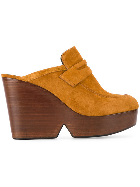 ROBERT CLERGERIE Clergerie Tan Suede Damor 110 Wedge Mules in Brown