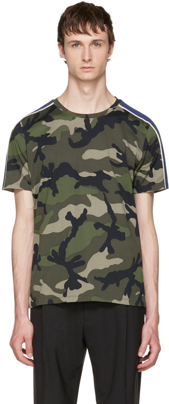 Slim-Fit Camouflage-Print Cotton-Jersey T-Shirt, Green