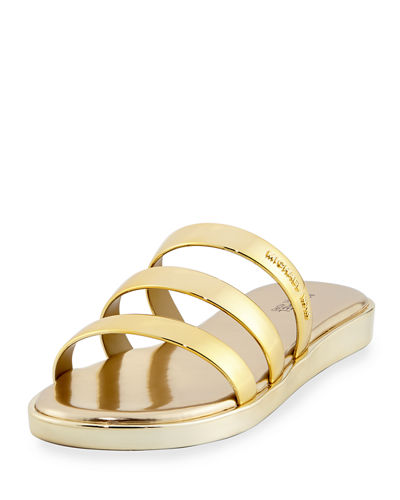 MICHAEL MICHAEL KORS Keko Metallic Flat Slide Sandal in Gold