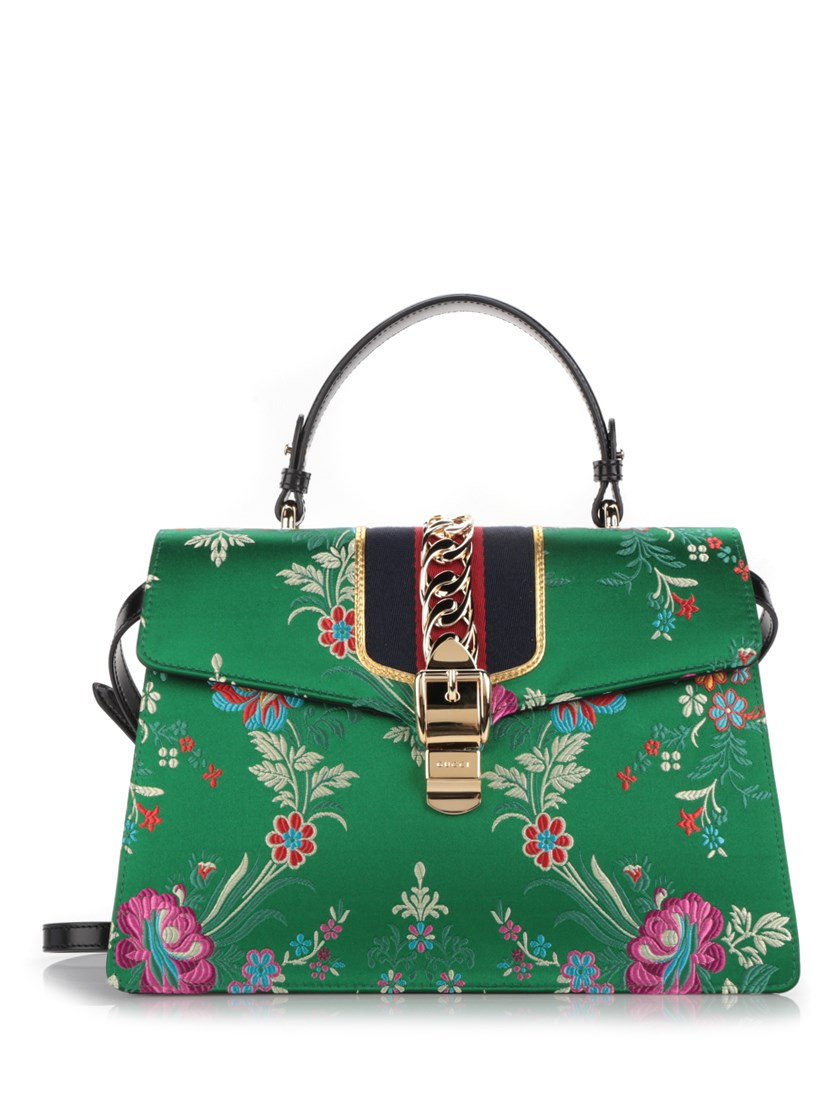GUCCI SYLVIE LARGE CHAIN-EMBELLISHED JACQUARD AND LEATHER TOTE, MULTI