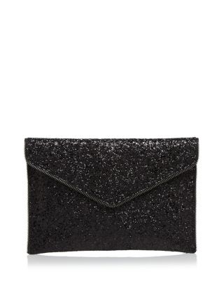 Leo Glitter Clutch Bag, Black, Black Glitter