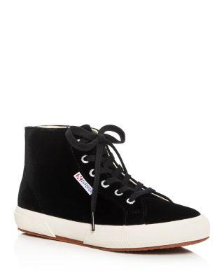 SUPERGA Women'S Suede High-Top Sneakers in Black