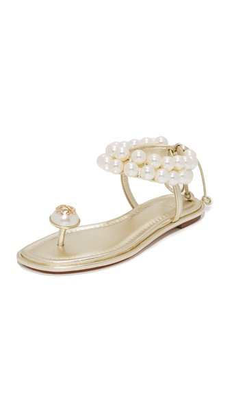 TORY BURCH Melody Beaded Leather Ankle Tie Sandals, Spark Gold