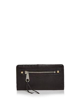 REBECCA MINKOFF Regan Snap Leather Wallet in Black