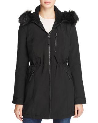 Faux-Fur Hood Soft-Shell Anorak Jacket, Black