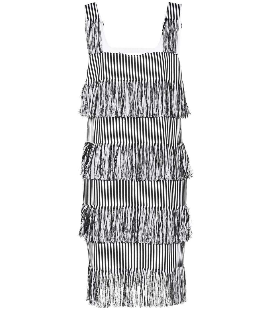 PRISM Nevis Striped Fringe Trim Dress in Black