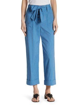 Robin Pinstriped Cotton-blend Seersucker Culottes - Azure Tory Burch