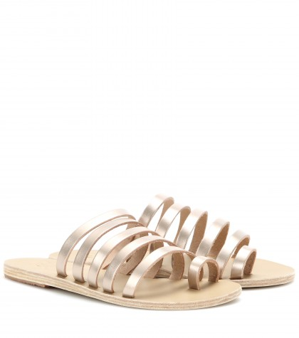 Niki Pearly Studded Multi-Strap Flat Sandals, Silver in Metallic