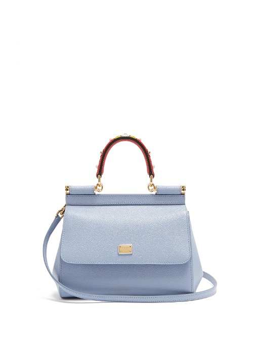 Bags. First seen in May 2017. DOLCE   GABBANA MINI SICILY LEATHER BAG WITH  EMBELLISHED HANDLE, BLUE MULTI 9a9ec0e8ba