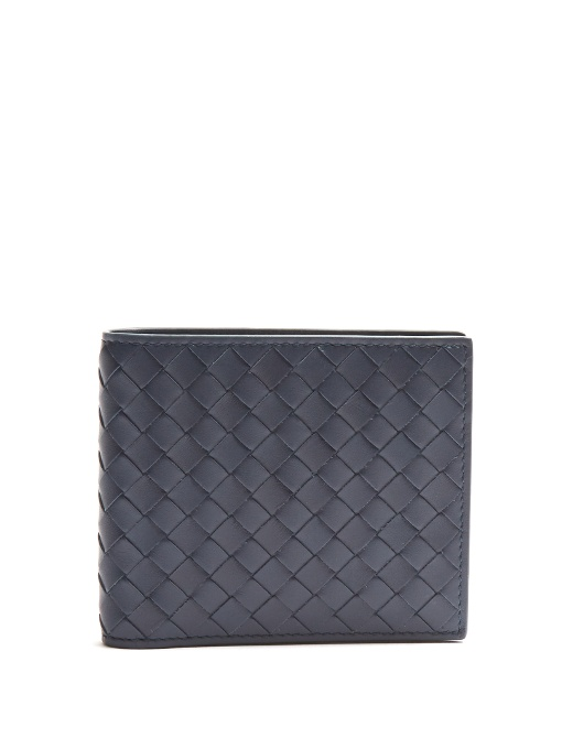 BOTTEGA VENETA Intrecciato Leather Billfold Wallet, Blue