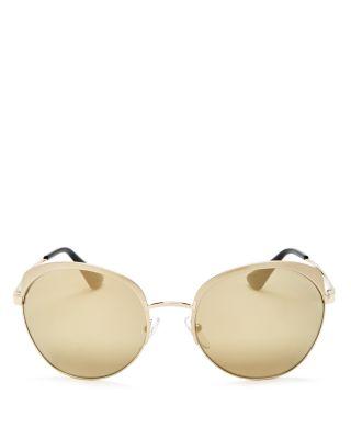 PRADA Mirrored Round Sunglasses, 58Mm in Pale Gold/Gold Mirror