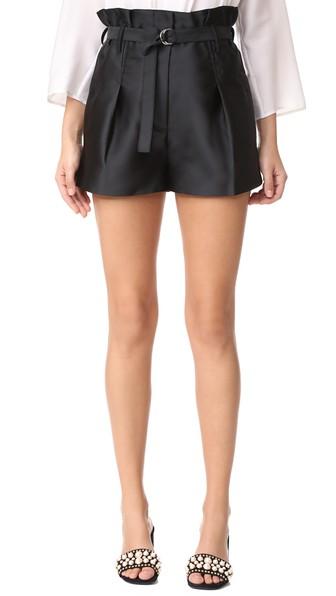 'Origami' High Waist Belted Satin Shorts, Black