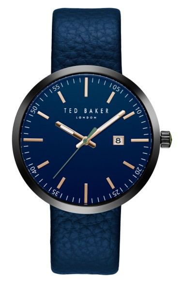 TED BAKER Jack Round Leather Strap Watch, 40Mm in Blue/ Blue